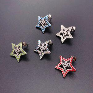 Stainless steel Star shape stud earring set with Crystals